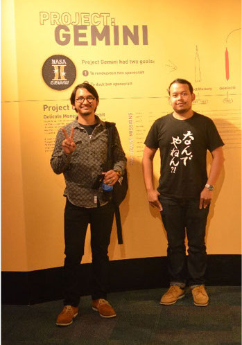 Shindu and Norman during their visit to the Project: Gemini exhibit, part of the US Space Program Exhibition