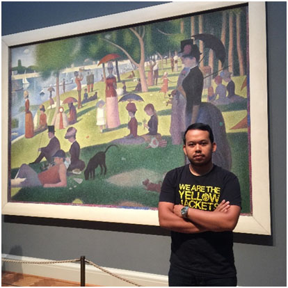 Norman with Georges Seurat's : A Sunday Afternoon on the Island of La Grande Jatte