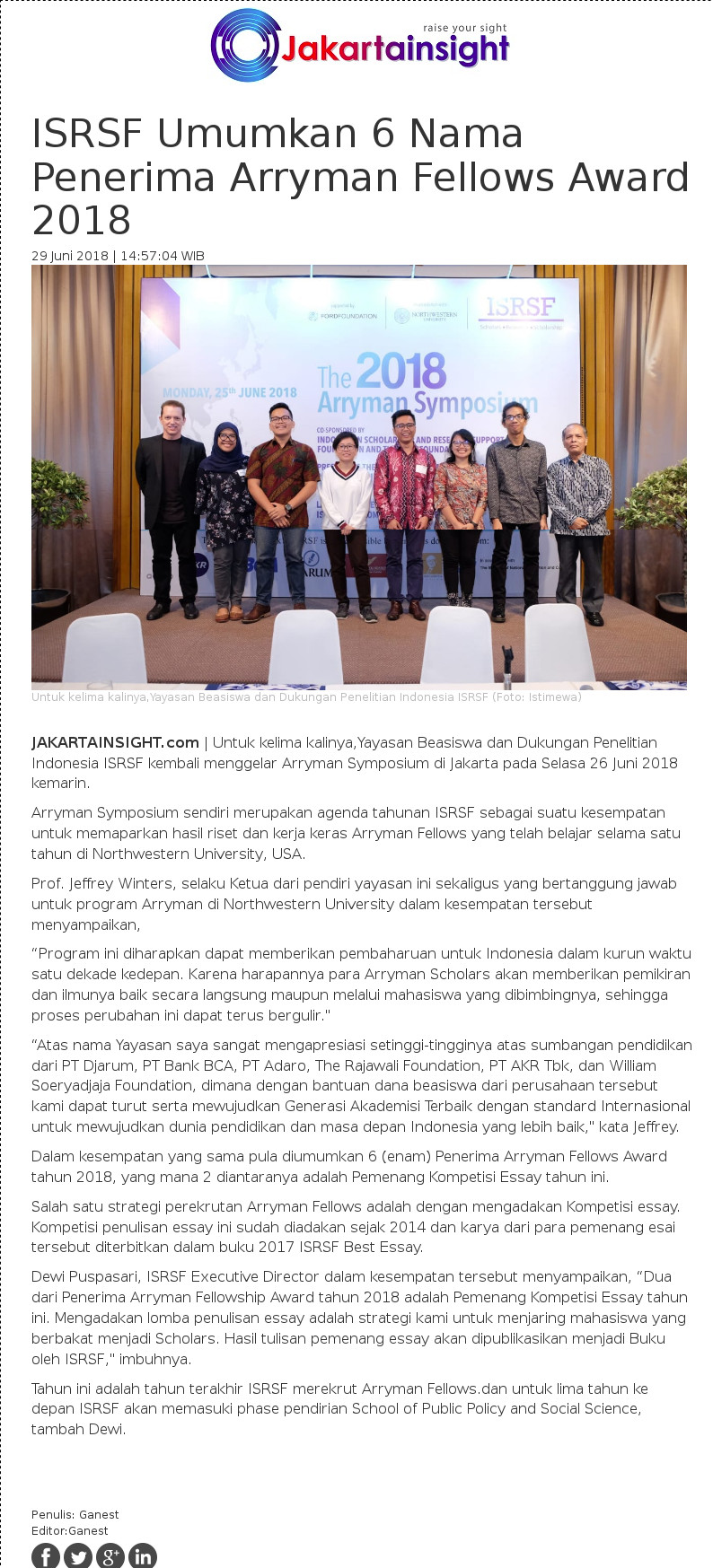 ISRSF Umumkan 6 Nama Penerima Arryman Fellows Award 2018