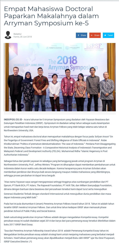 Empat Mahasiswa Doctoral Paparkan Makalahnya dalam Arryman Symposium ke-5