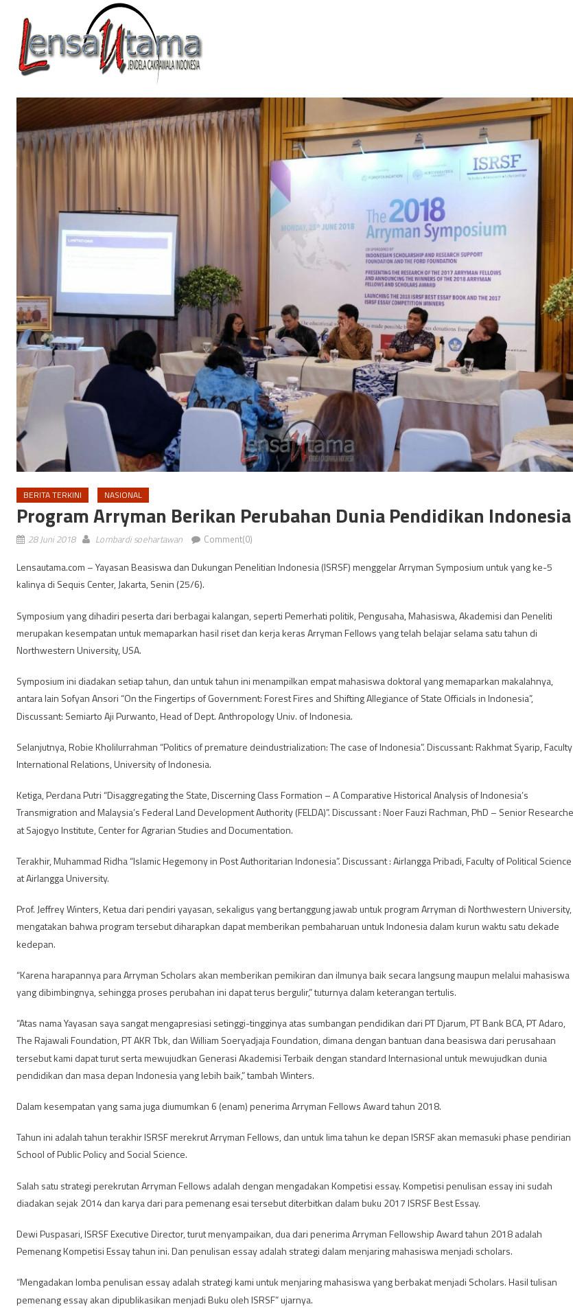 Program Arryman Berikan Perubahan Dunia Pendidikan Indonesia